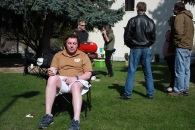 soaking up the sun; Pastor Peter at the barbeque